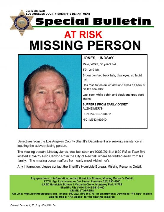 Los Angeles County Sheriff's Department's Missing Persons Unit as seeking the public's help in locating Lindsay Jones. Photo Courtesy of Los Angeles County Sheriff's Department